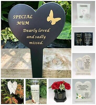 Mum Mother Memorial Plaque Frame Stake Flower Vase Grave Candle Remembrance Item