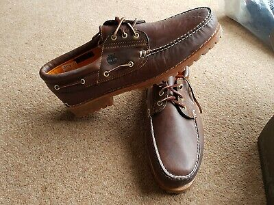 TIMBERLAND TRAD HS 3 Eye Lug Brown boat deck Shoe Size Uk15 - EUR 41 ... a73b0b10c89