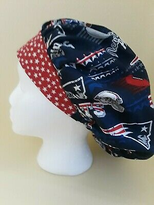eefc28f9117 New England Patriots NFL Women s Bouffant Surgical Scrub Hat Cap Handmade