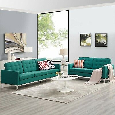 MODWAY LOFT UPHOLSTERED Fabric Mid-Century Modern Sofa and ...