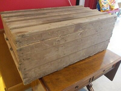 PINE wood wooden TOOL BOX storage case luggage transit / packing crate ANTIQUE