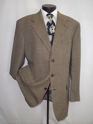 Nordstrom, Tallia Uomo Beige 3 Buttons Check Wool Coat, Jacket 46 L