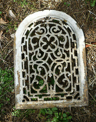 Antique Cast Iron Arch Heating Grate Clover Scrolling Vine Grate Garden Decor