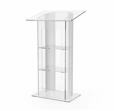 Clear Acrylic Plexiglass Podium Curved Sides Pulpit Lectern Conference