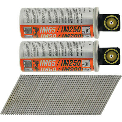 NEW Paslode IM65A F16 Angled Brad Nails & 2 Fuel Cells 16 x 51mm Galv UK SELLER