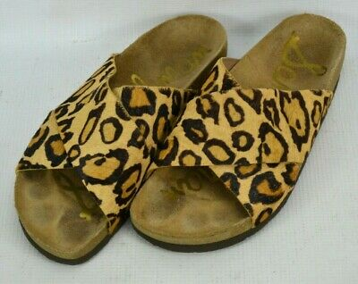 fd2a959e934ad4 Sam Edelman Adora Leather Slide Sandals Womens Size 7 M Leopard Cheetah  Print