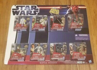 Star Wars Movie Heroes Bonus Value 8 Figure Pack A4110 R2D2, Yoda, Maul, Obi