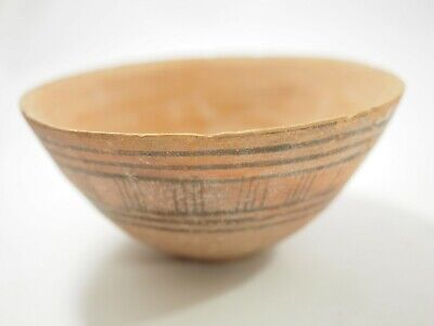 Ancient Middle East Terracotta Pottery Bowl with Painted Designs