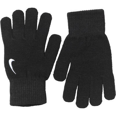 Nike Gloves Swoosh Knit Youth Boys Girls Black S/M or L/XL 8 to 15 Years New