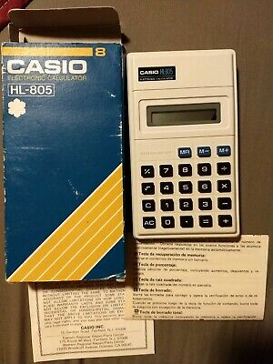Vintage Casio HL-805 Electronic Calculator w/ Original Box and instructions