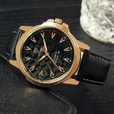 Mens Military Leather Watch Date Quartz Analog Army Casual Dress Wrist Watches