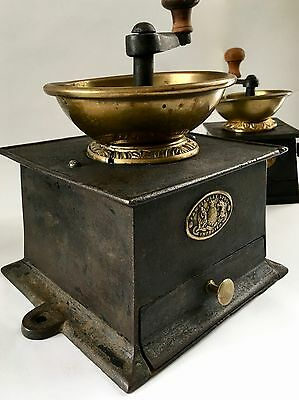 HUGE+RARE #5 Antique/Vintage J&W FINDLAY English Iron+Brass Coffee Mill/Grinder