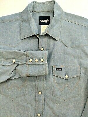 Vintage Wrangler Mens Chambray Long Sleeve Pearl Snap Western Work Shirt XL