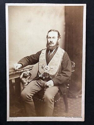 Victorian Photo Cabinet Card: Gent With Unusual Sash : Rochdale