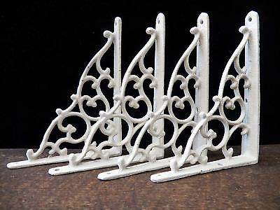 "Set of 4 Cast Iron Shelf Brackets New Antique-Style White 5 1/4"" x 7"""