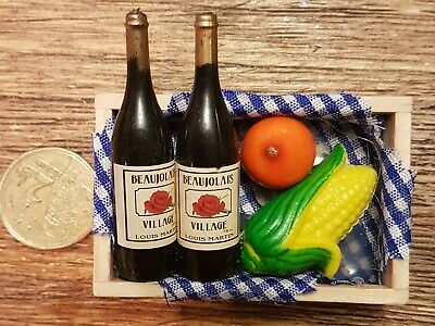 Coles Little Shop Mini Collectables - Wine Bottles in crates with fruit & vegs