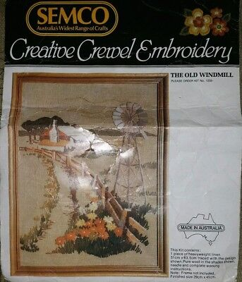 Semco Crewel Embroidery Designs - 'The Old Windmill' Kit No. 1232 No Threads