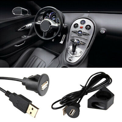 1m USB2.0 A Male to USB A Female Car PC Dash Board Flush Mount Extension Cable