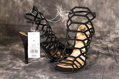 8W Black New Women/'s Mossimo Kylea Caged Heel Strappy Gladiator Pumps