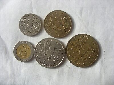 Lot Of 5 Kenya Coins  5 Cents- 5 Shillings 1967-1997