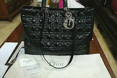 ed4bfc8aa9b HUGELY DISCOUNTED $4400 Black Cannage Quilted Patent Large Lady Dior Tote  Bag