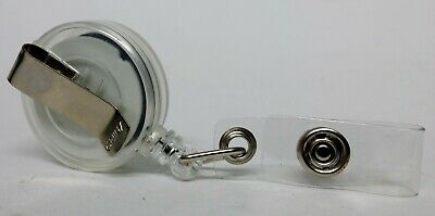 QUALITY WHITE YOYO BADGE REEL retractable recoil carabiner clip lanyard reel