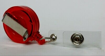 QUALITY RED YOYO BADGE REEL retractable recoil carabiner clip lanyard reel