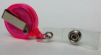 QUALITY PINK YOYO BADGE REEL retractable recoil carabiner clip lanyard reel