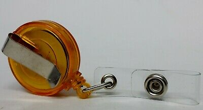 QUALITY ORANGE YOYO BADGE REEL retractable recoil carabiner clip lanyard reel