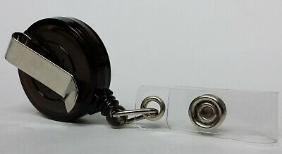 QUALITY BLACK YOYO BADGE REEL retractable recoil carabiner clip lanyard reel