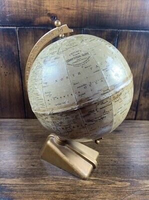 "Rare Antique 1920/30s ""George Phillips & Sons Ltd"" 6 inch Terrestrial Globe"