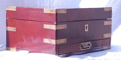 Caja antigua neceser de barco. Antique wooden dresser ship box.