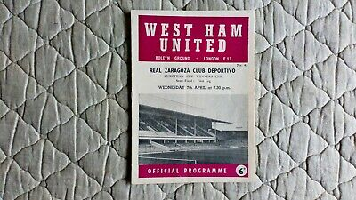 West Ham V Real Zaragoza Cup Winners Cup Semi Final 1St Leg Match Programme 1965
