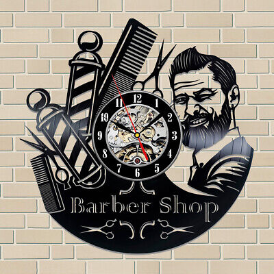 BARBERSHOP CLOCK Wall Vinyl Clock Hairdresser Barber Clock Gifts For Women Men