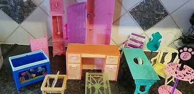 Barbie Doll - Furniture/clock/ chairs/ dresser - 12 pieces - see pictures