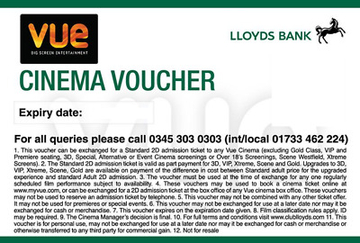 2 x Vue cinema tickets, expiry 18/01/2020. More available