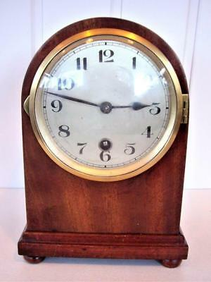 ANTIQUE MAHOGANY DOME TOP MANTLE CLOCK - good working order.