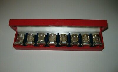 "Vintage ""CARTIER"" Sterling Silver Salt and Peppers Shakers Set of 8 Box Included"
