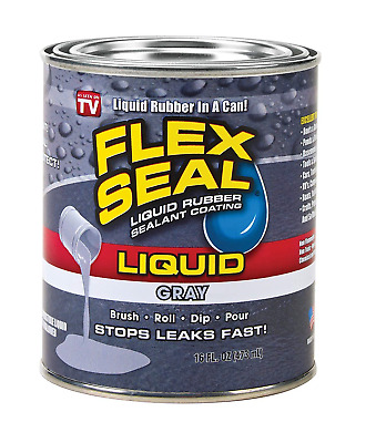 Flex Seal Liquid - Liquid Rubber Sealant Coating - Large 16oz Gray