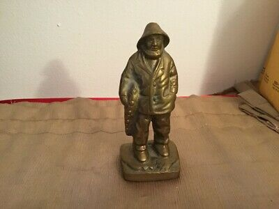 Antique/Vtg Solid Brass Sailor Fisherman Statue