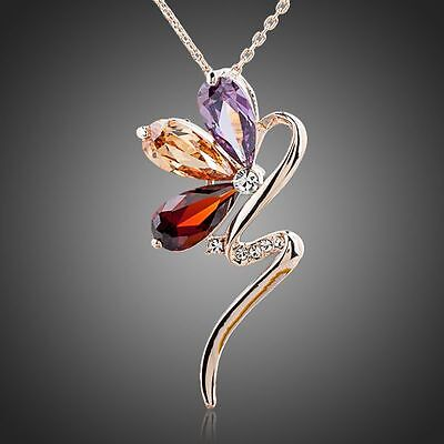 Cute Rose Gold Plated Sparkly Magic Fairy Multi Coloured Zircon Pendant Necklace