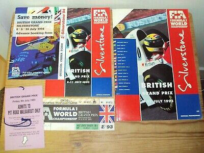 British Grand Prix 1993 Silverstone Formula1 Programme Race Card Ticket Pit Pass