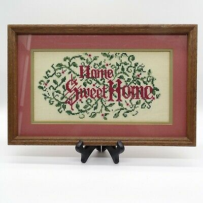 "Finished Framed Cross Stitch Home Sweet Home 14"" X 9"""