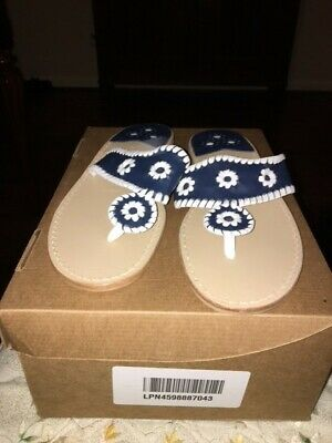 7ff44f610d98 Jack Rogers Women s Palm Beach Navajo Classic Sandal Navy White 9M Ladies  Summer
