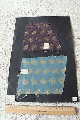 Two Rare c1600-1700s French Or Italian Silk Metallic Brocade Fabrics