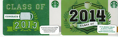"""""""Class of 2013 & 2014"""" Starbucks Cards - New & Never Swiped - Pin Intact -"""