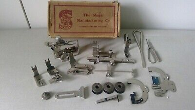Vintage Singer 66K BACK CLAMPING Sewing Machine Attachments Accessories Box