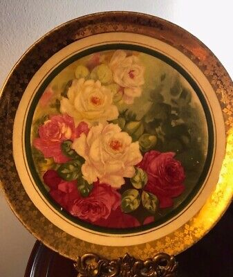 Antique Dresden Plate Hand Painted Signed by Artist T Duvaly White and Red Roses
