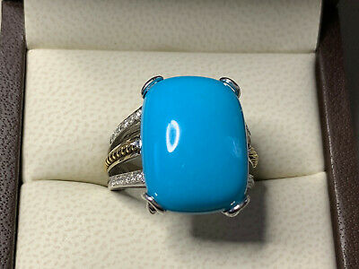 18k White and Yellow Gold Turquoise & Diamond ring STUNNING!!! Sleeping beauty.