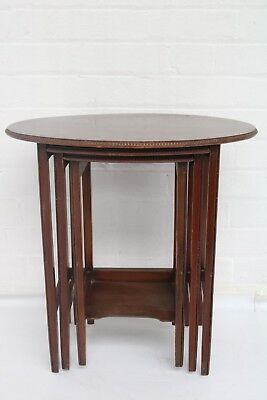Antique Edwardian Oval Mahogany Nest Of Three Tables Good Condition !!!